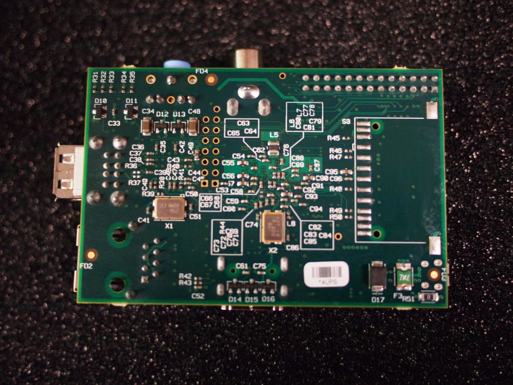 Raspberry Pi beta board, back view