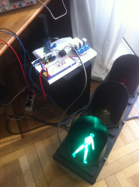 Raspberry Pi hooked up to a traffic light