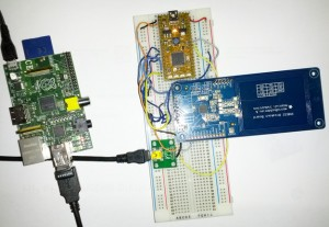 The hardware we used for the demo: RaspberryPi with WiFi dongle, mbed LCP11U24, Adafruit NFC board