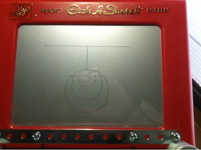 Circles and lines on Etch-a-Sketch panel