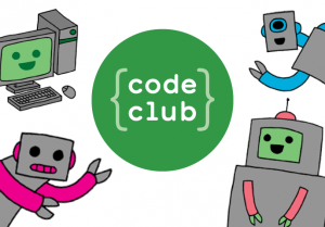 Code Club logo surrounded by sketches of friendly robots and a computer