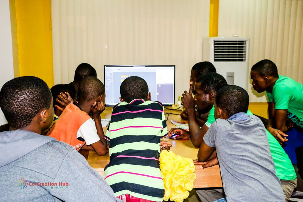 young people programming in Scratch on a Raspberry Pi, Co-creation Hub, Nigeria
