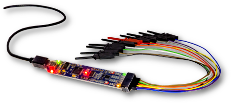 The BitScope Micro comes bundled with ten signal clips and a USB cable.
