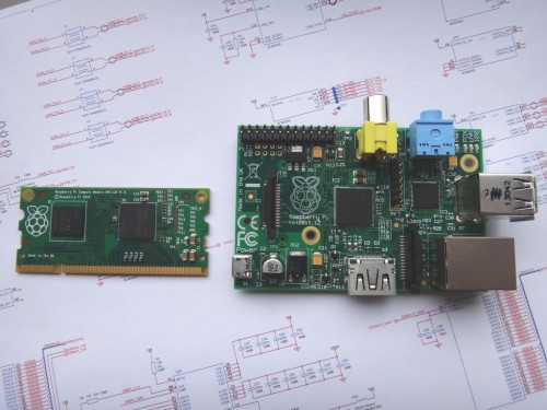 Picture of new compute module next to current Raspi-B