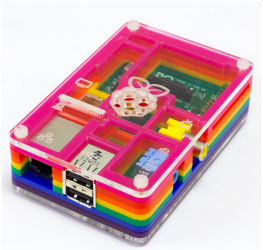 The Pibow Rainbow: Liz's Raspberry Pi case of preference.