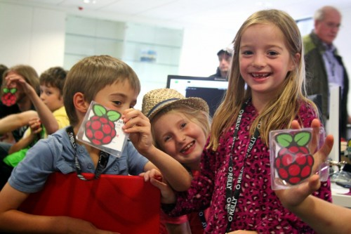 Children having fun with RPi at PyConUK 2013