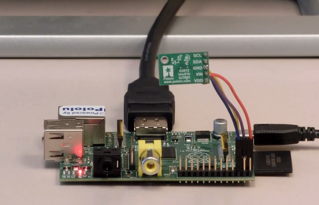 Real-time orientation display with the MinIMU-9 v2