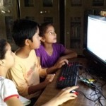 Chamoli students practise on their own using a TV as a monitor
