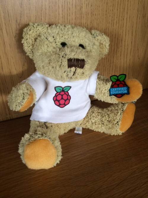 Babbage with his Raspberry Pi Certified Educator Badge