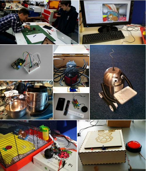 Physical computing Foundation style: fart detector, robobutler, hamster cam and grandpa scarer. Yes, they all work :)
