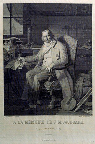 Joseph Marie Jacquard - a portrait woven in very fine silk on a Jacquard loom in 1839. 24,000 punch cards, each with 1050 positions, were used to weave this portrait, which is in the collection of the Science Museum in London.