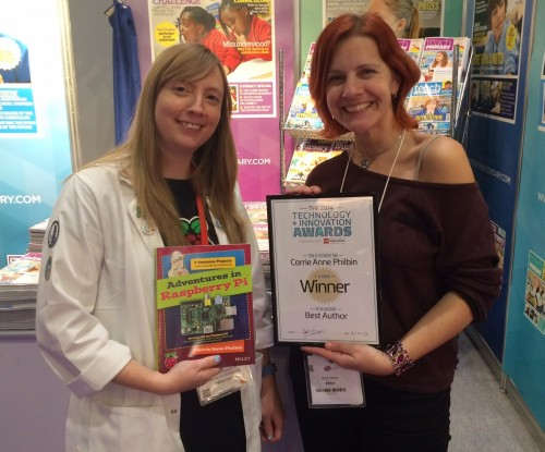 Carrie Anne picks up her Best Author Award for Adventures in Raspberry Pi...