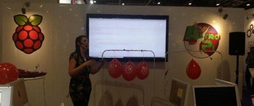 Fran demonstrating the explosive-free Balloon Pi-tay popper resource.