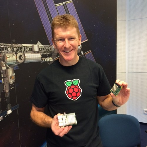 British ESA Astronaut Tim Peake with the prototype Astro Pi