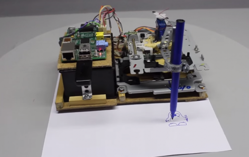 Plotter made from scrap computer parts - Raspberry Pi