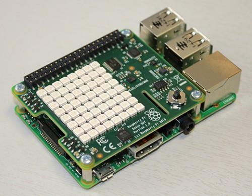 A Raspberry Pi wearing a Sense HAT