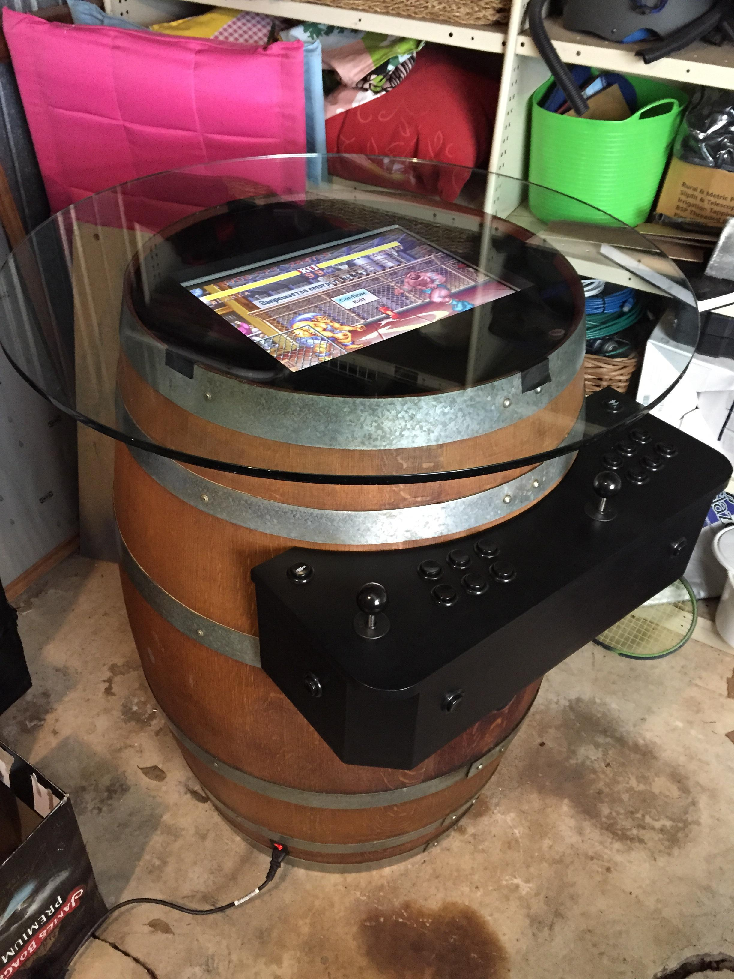 Barrel o' Fun: Arcade machine barrel table - Raspberry Pi