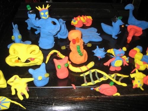 Light-up play dough models at Maker Faire UK 2009