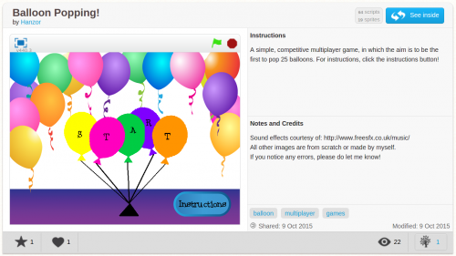 Screenshot of Balloon Popping, a game written by Hannah in Scratch