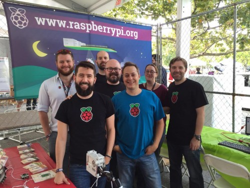 The Maker Faire booth crew (L-R) Roger, Matt, Eben, Philip, Russell, Rachel, and Ben.