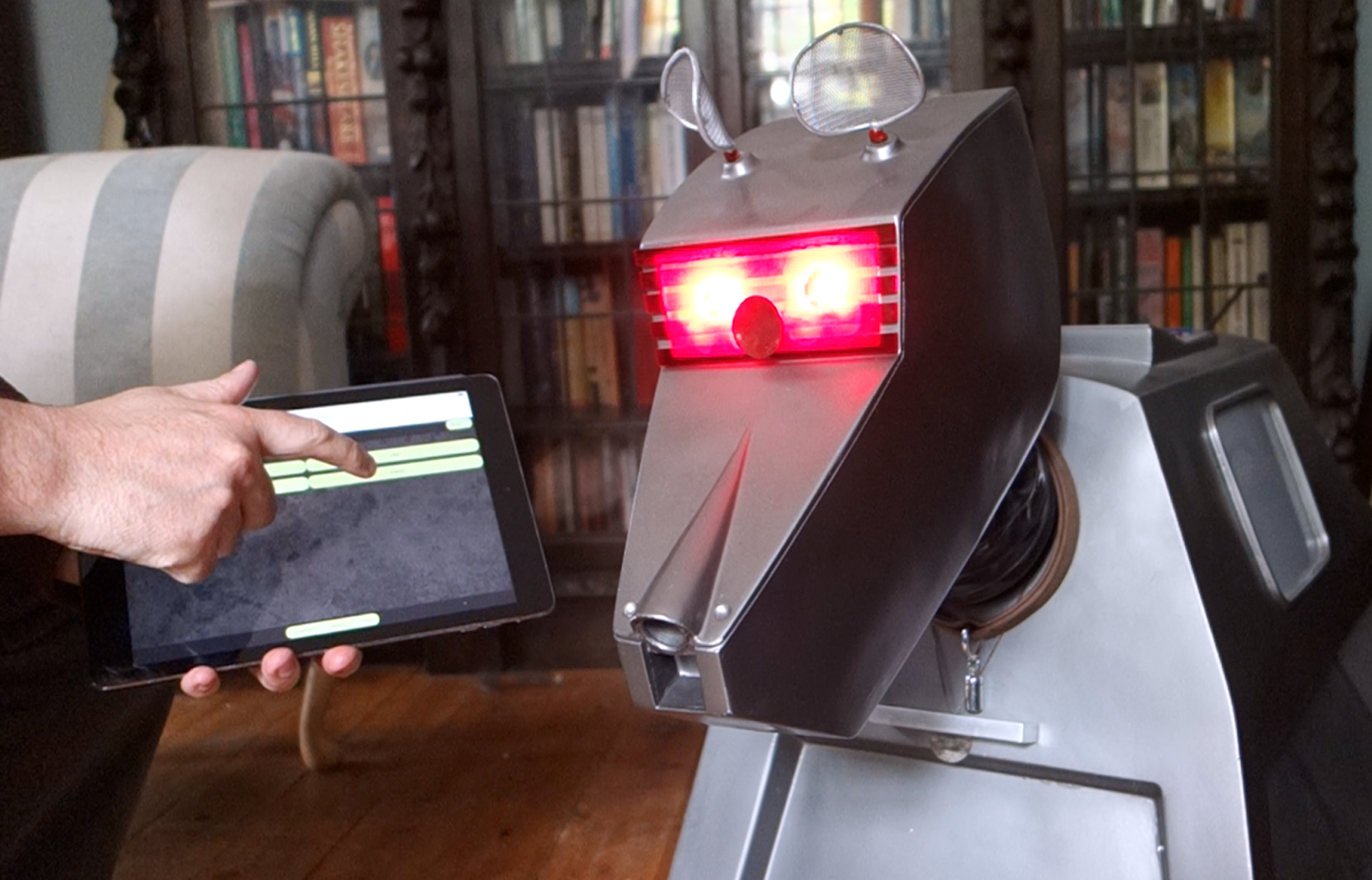 The face of a homemade K-9 robot from Doctor Who
