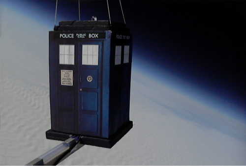 The TARDIS, as seen in Doctor Who, except slightly smaller on the inside