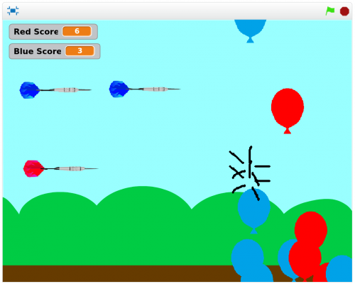 A screenshot of Hannah's balloon-popping game in action
