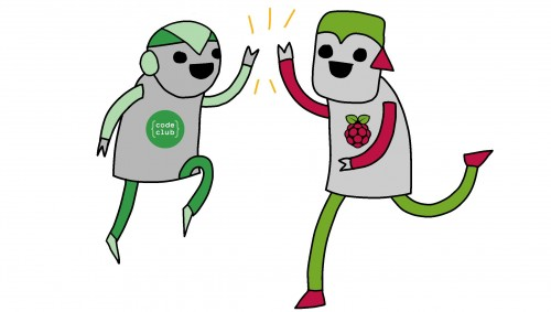 Code Club robot and Raspberry Pi robot: high five!