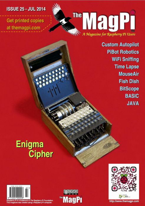 The cover of issue 25 of The MagPi, showing an Enigma machine