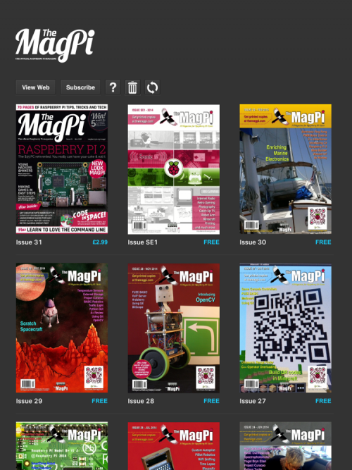 Screenshot of The MagPi app with a selection of magazines in view