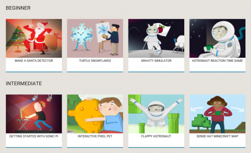 Part of our Hour of Code page, showing a selection of Beginner and Intermediate resources