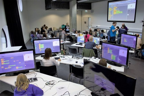 Children at a Scratch workshop with Raspberry Pi at MozFest 2015