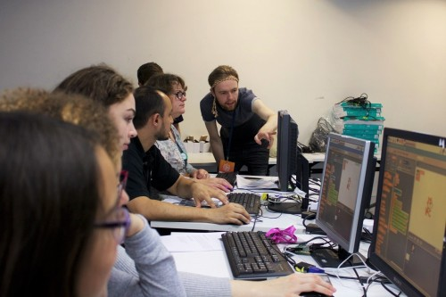 Young people at a Scratch workshop with Raspberry Pi at MozFest 2015
