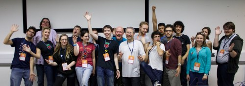 Raspberry Pi community volunteers pose at MozFest