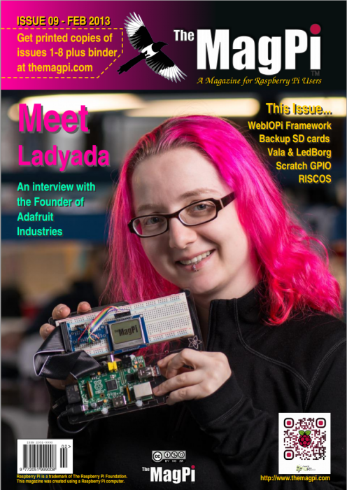 An issue of The MagPi with Lady Ada on the front