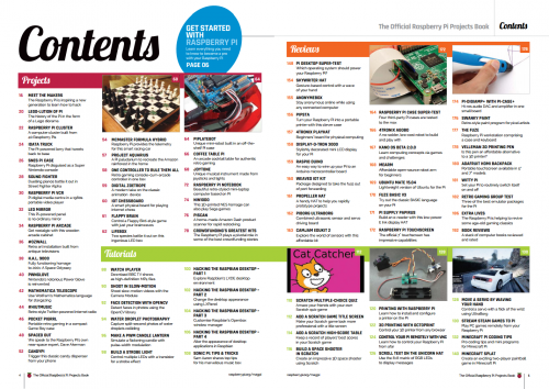 A picture of the contents spread of the Official Raspberry Pi Projects book