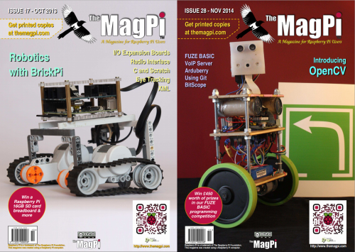 Two covers of The MagPi side-by-side, each showing a robot