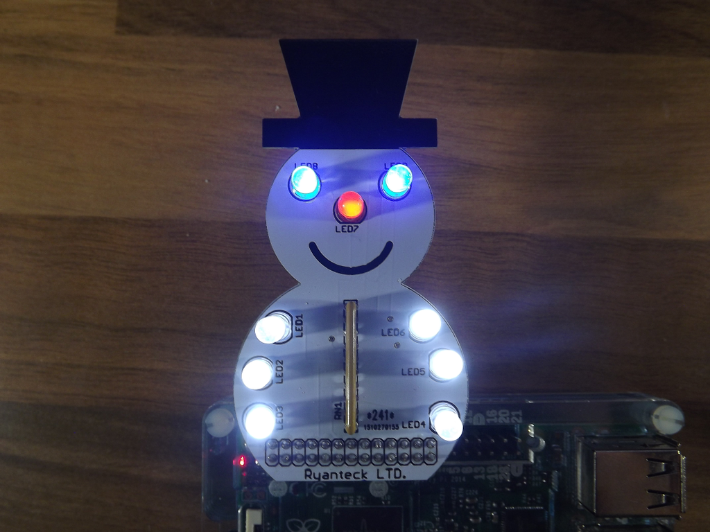 Prototype of SnowPi, the GPIO snowman for Raspberry Pi