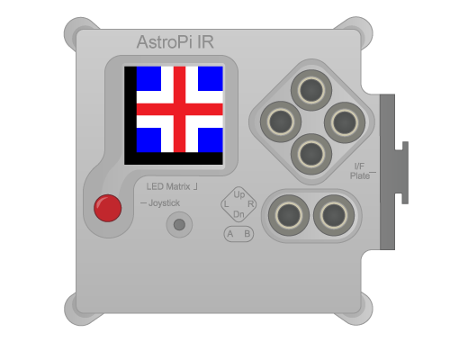 An Astro Pi displaying the icon for the 'Flags' application