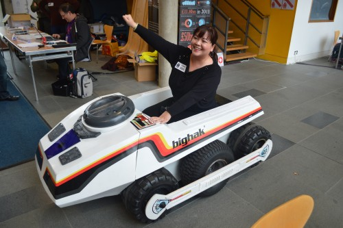 This is the kind of thing you see at Pi Wars: Liz commandeers a gigantic Big Trak.