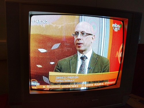 Daniele Procida on Namibian television during the conference