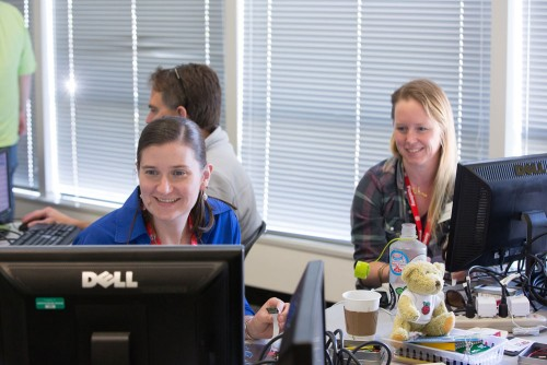 Stephanie Corrigan and Kate McGregor of the Computer History Museum are among the newest group of Raspberry Pi Certified Educators. © Douglas Fairbairn Photography / Courtesy of the Computer History Museum