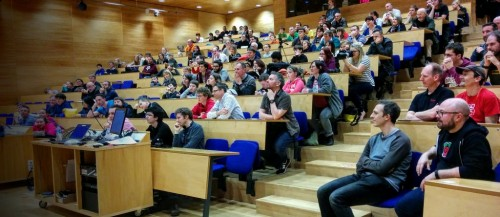packed lecture theatre