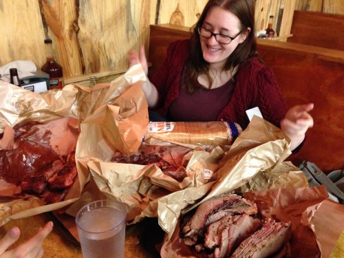 Liz took this picture of Rachel and most of the meat in Texas in Bastrop last year.