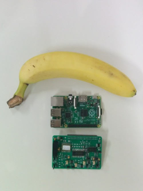 Cosmic Pi HAT prototype and Raspberry Pi, with banana
