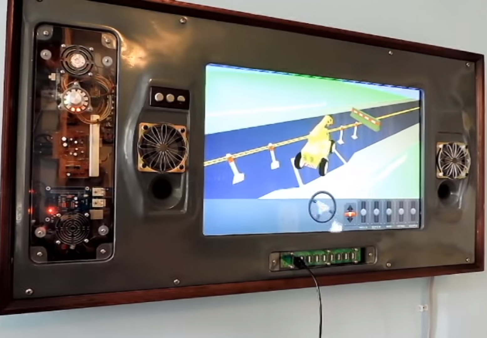 Wall-mounted Raspberry Pi games console for kids