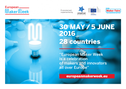 "European Maker Week banner: ""a celebration of makers and innovators all over Europe"""