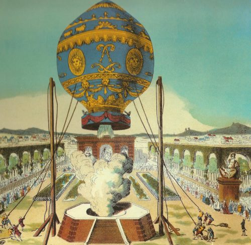 The Montgolfier brothers' first human-crewed balloon takes off at the Bois de Boulogne, Paris, on November 21, 1783