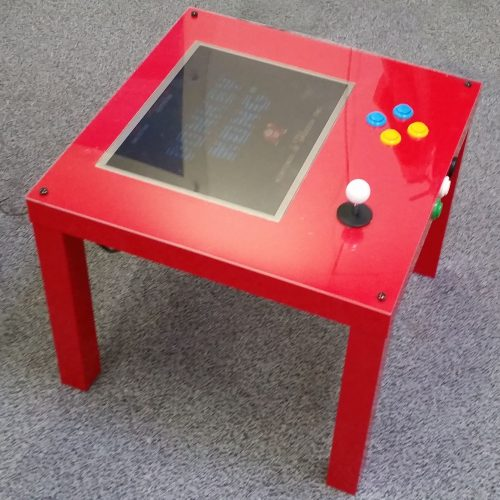 PIK3A gaming table - a glossy red IKEA LACK table with inlaid monitor, joystick and buttons