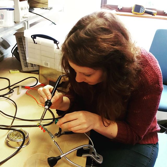 Steph learns to solder
